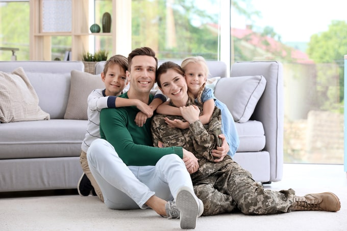 Military family in living room