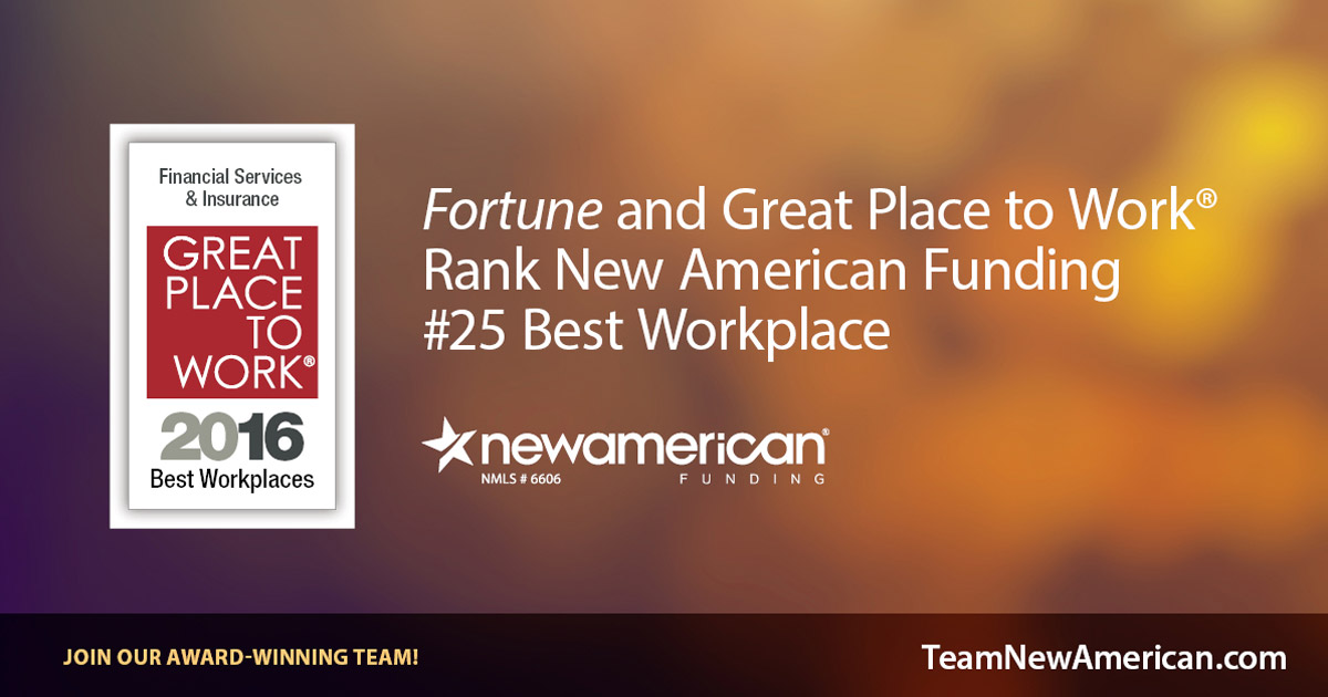 Fortune and Great Place to Work Rank New American Funding #25 Best Workplace