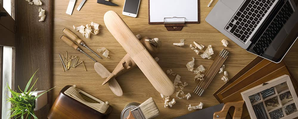 model plane on work desk