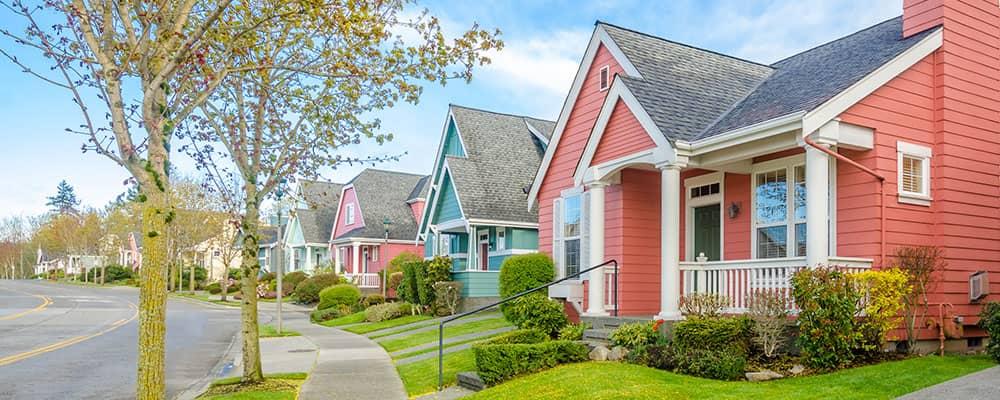 neighborhood with colorful houses