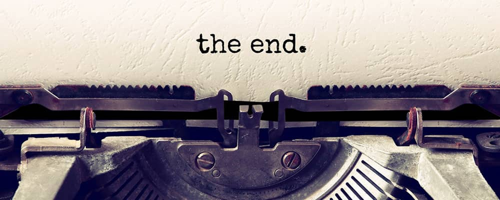 The End typed on paper with a typewriter