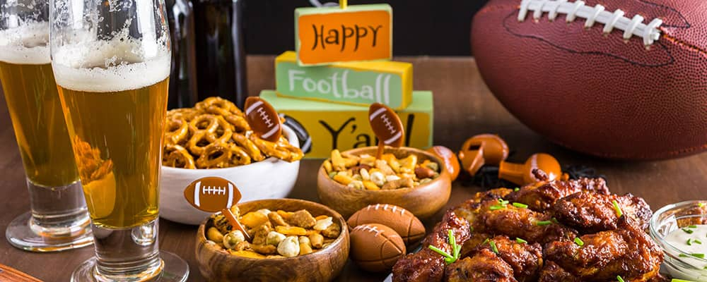 football, beer and snacks