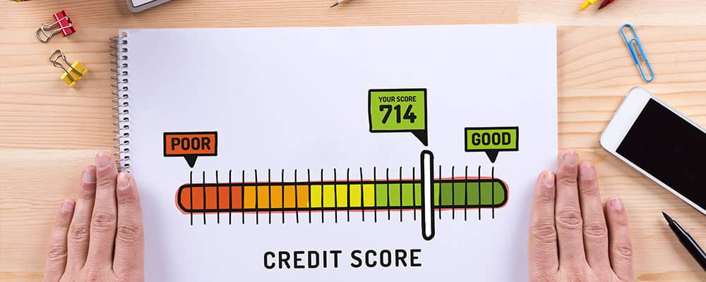 credit score gauge on paper
