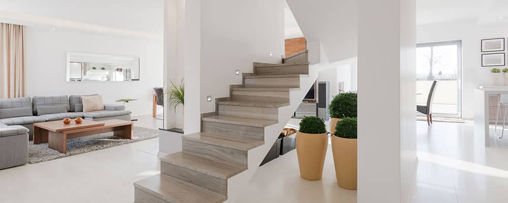 modern house interior with stairs